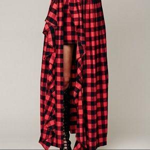 Free People High Low Plaid Skirt